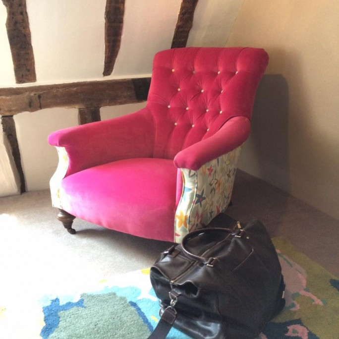 john sankey chair in one of the bedrooms at Keep Cottage