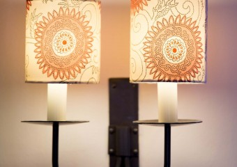 Up cycled kimono light shades from those clever ladies @bespokeboutique