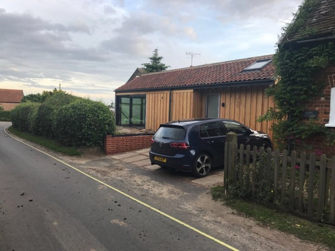 The Wood Store has its own parking , patio and garden. In Orford Suffolk