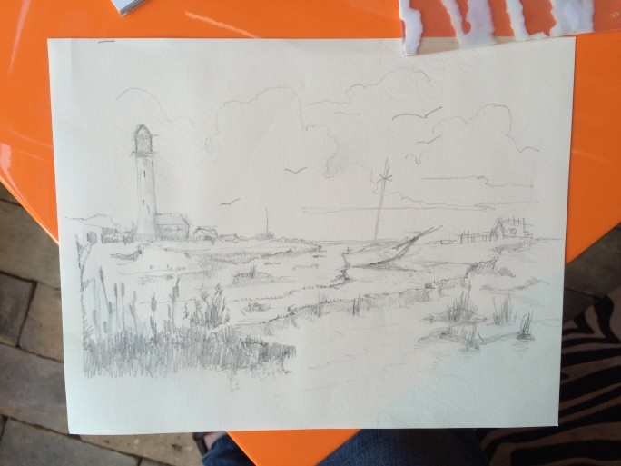 Guests pencil drawing - image of orford ness