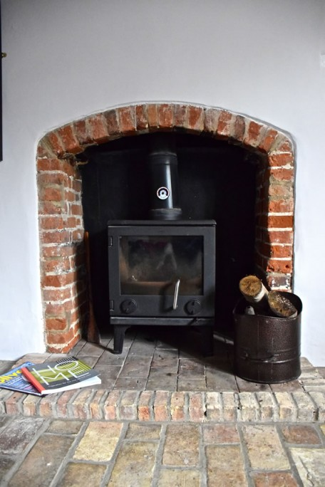 One of the two wood burning stoves