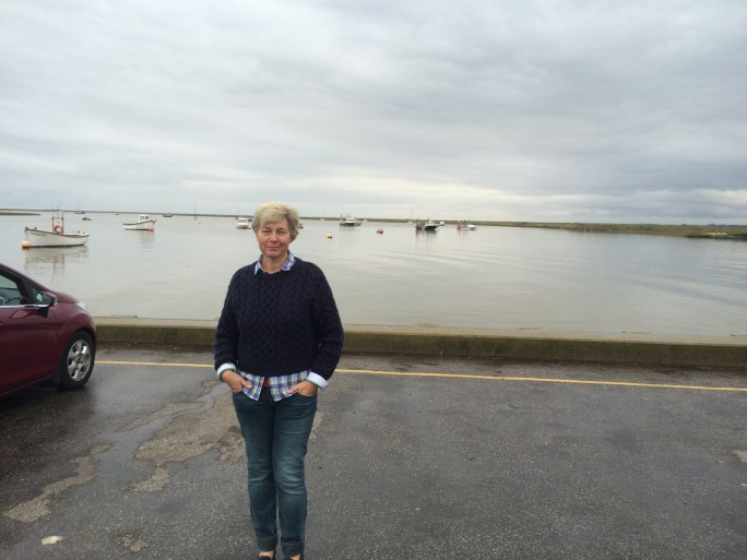 Sara looking relaxed at Orford Quay